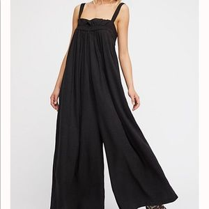 Free People Black Wide Leg Cotton Jumpsuit-H19